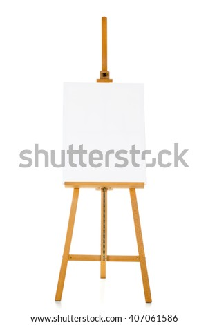 Wooden easel with blank canvas over white background