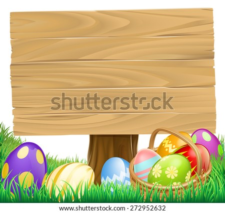 Wooden Easter Egg Sign with a basket hamper full of eggs - stock photo