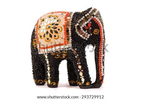 Wooden elephant figurine from Thailand - stock photo