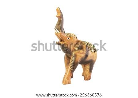 wooden elephant isolated on white background - stock photo