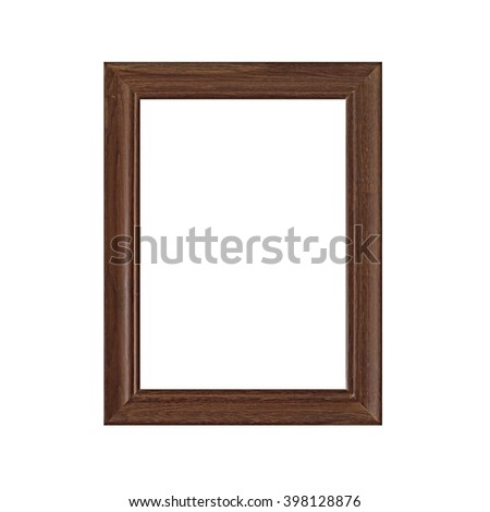 wooden empty picture frames isolated on white background