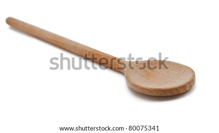 Wooden empty spoon on the white - stock photo