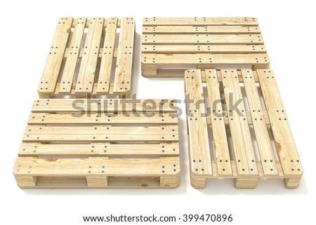 Wooden Euro pallets. Side view. 3D render illustration isolated on white background - stock photo