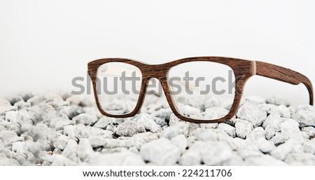 Wooden eyeglasses - stock photo