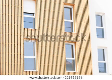 wooden facade of a house - stock photo