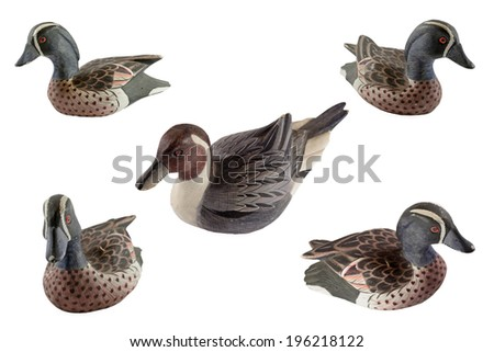 Wooden family duck - stock photo