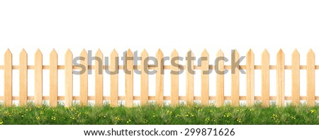 wooden fence and grass.  isolated on a white background. - stock photo
