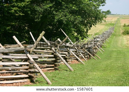 Wooden fence at Gettysburg - stock photo