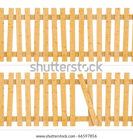 Wooden fence  3d background - stock photo