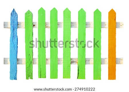Wooden fence - isolated on white background.