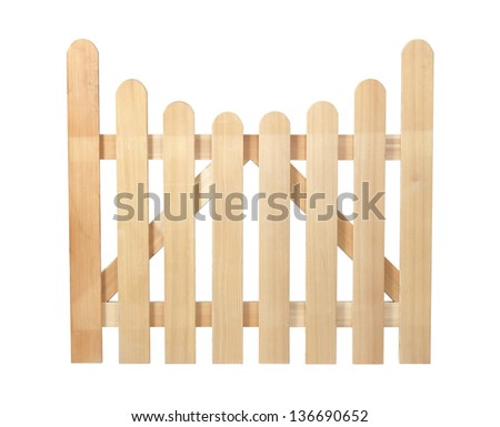 Wooden fence isolated on white with clipping path. It can be replicated left and right. - stock photo