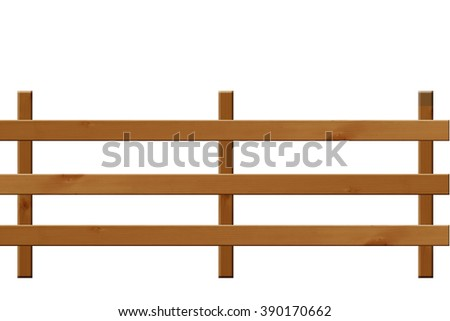 Wooden fence landscape orientation. isolate on white background