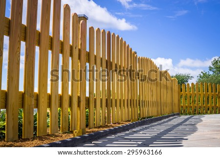 Wooden fence on a residental terrace - stock photo