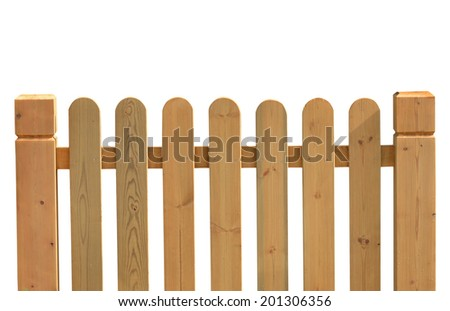 Wooden fence on a white background   - stock photo