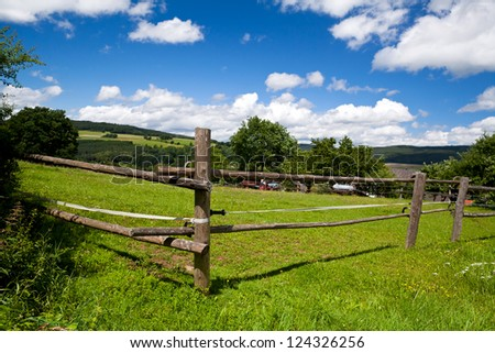 wooden fence on green pasture in summer