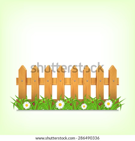 Wooden fence with green grass and flower. Grass, chamomile with ladybug and waterdrop. Landscape. Summer time. Spring time - stock photo