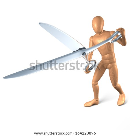 Wooden figure, man attacking with scissors, snipping, 3d rendering isolated on white background - stock photo
