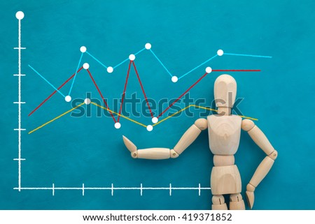 wooden figure with graph chart analysis on color background ,business concept - stock photo
