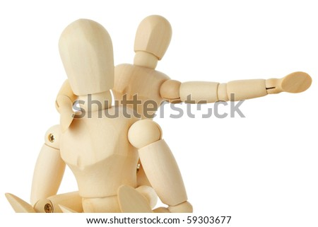 wooden figures of child sitting on back of his parent and pointing for one hand right, half body, isolated on white
