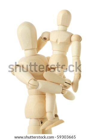 wooden figures of child sitting on hands of his parent, half body, isolated on white
