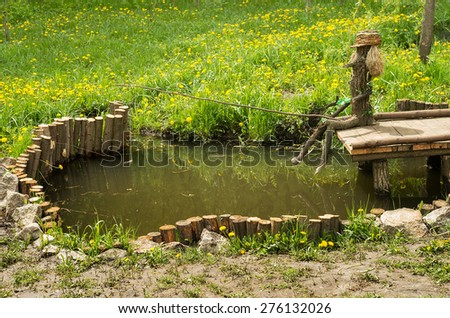 Wooden fisherman set in park