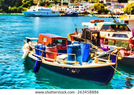 Wooden Fishing Boats in the beautiful Harbour of Alonissos island in Greece - stock photo