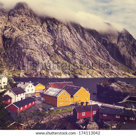 wooden fishing cabins in   Norway - stock photo