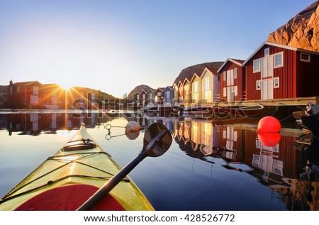 Wooden fishing huts  Sweden, Scandinavia - stock photo
