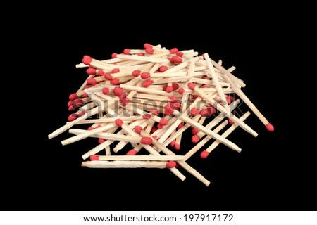 wooden flammable matches with red head - stock photo