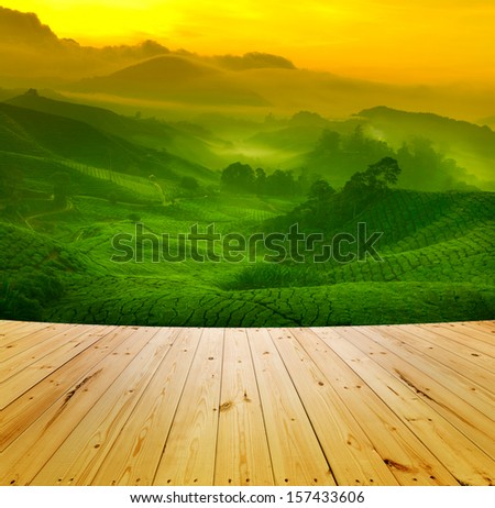 Wooden floor and sunrise view of tea plantation landscape at Cameron Highland, Malaysia. - stock photo