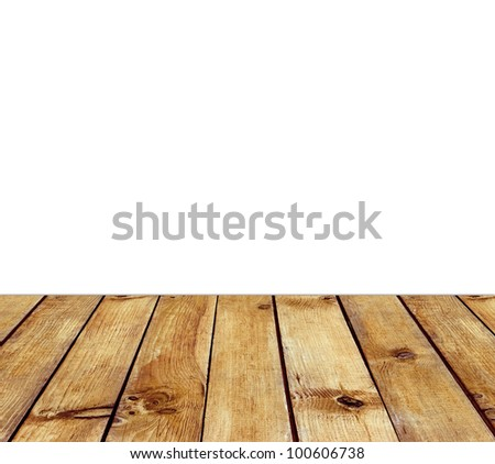 Wooden floor and white space for text background