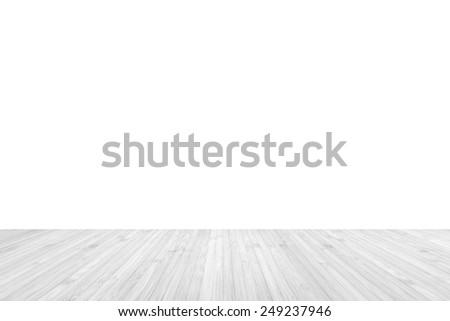 Wooden floor on white background - stock photo