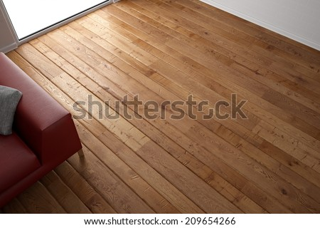 Wooden floor texture with red leather couch and pillow - stock photo