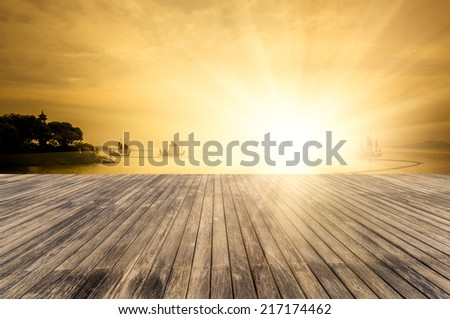 wooden floor with landscape in taihu lake, wuxi china. - stock photo