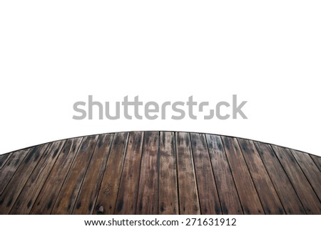 wooden foot bridge isolated on a white background + Clipping Path - stock photo