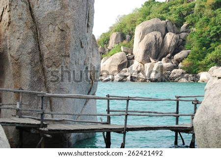 Wooden footbridge to the beach of Nangyuan island, Thailand