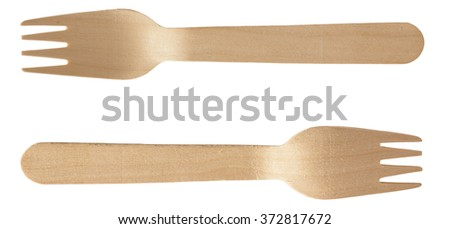 Wooden Fork Spoon both sides isolated on white with clipping path - stock photo