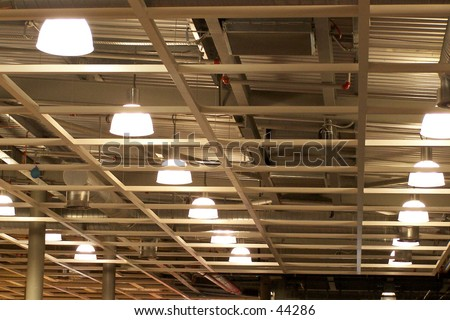 Wooden frame ceiling - stock photo