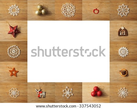 Wooden frame composed of christmas decoration pictures. Space for text inside of the frame.  - stock photo