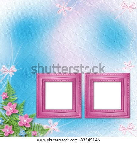 Wooden frame for photo with pink orchids and green fern - stock photo