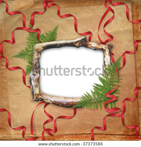 Wooden frame for picture or photo with bunch and streamer