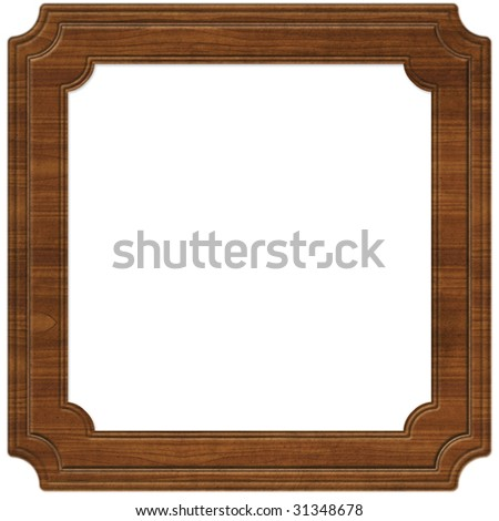 Wooden frame illustration (path included) - stock photo