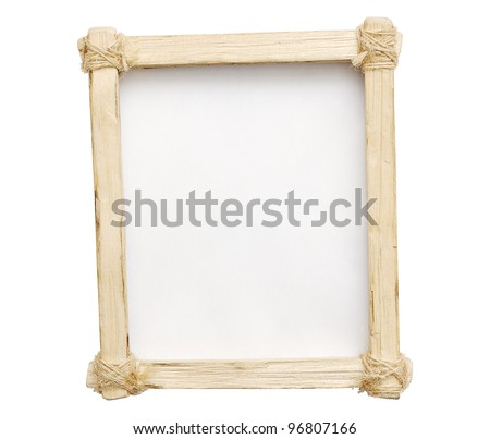 Wooden frame is made ??by hand on a white isolated background. - stock photo