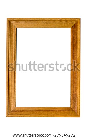 wooden frame isolated on white background. Copy space