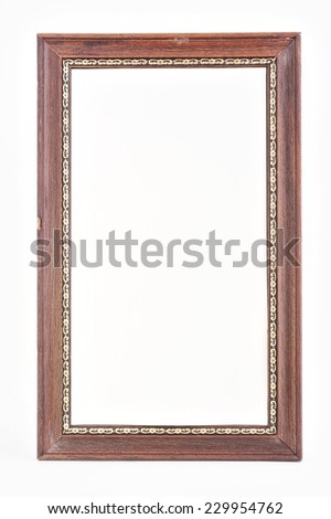 wooden frame on white background.