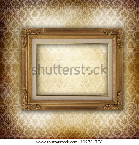 Wooden frame over damask vintage wallpaper - stock photo