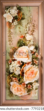 Wooden frame with beautiful roses - stock photo
