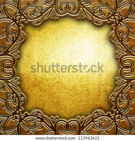 wooden frame with golden  background - stock photo
