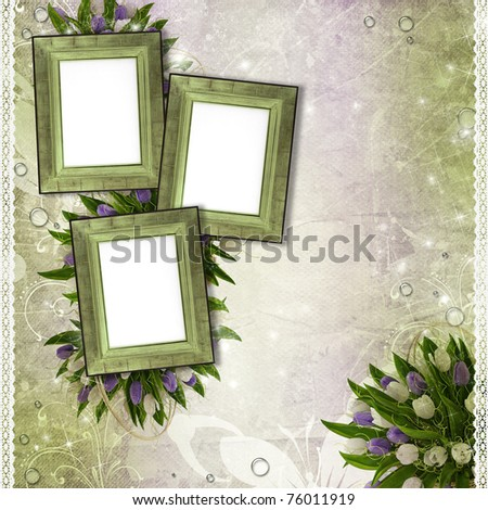 Wooden frames for photo with tulips, drops and lace - stock photo