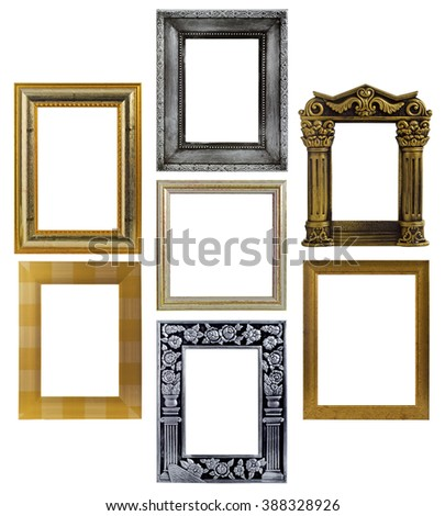 Wooden frames isolated on white background - stock photo